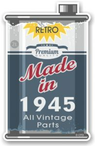 Vintage Aged Retro Oil Can Design Made in 1945 Vinyl Car sticker decal  70x110mm